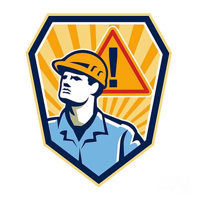 Contractor Construction Worker Caution Sign Retro Art Print by Aloysius Patrimonio