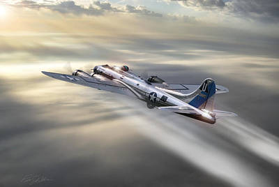 B-17 Wall Art - Digital Art - Contrail Climb by Peter Chilelli