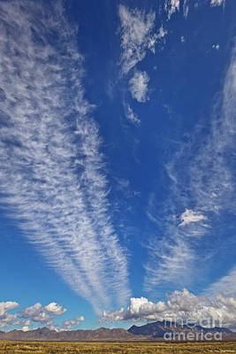 Photograph - Contrails And Cumulus Cloud New Mexico by Yva Momatiuk John Eastcott