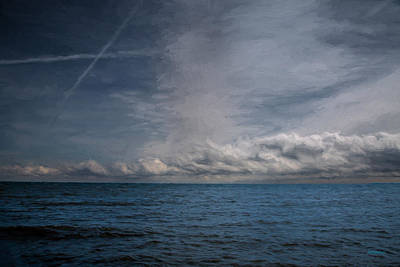 Photograph - Contrails And Rainclouds Over Lake Michigan by John M Bailey