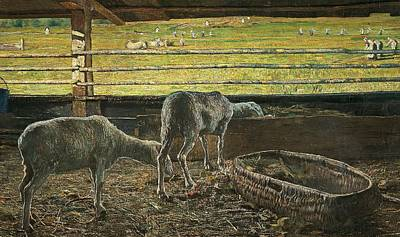France From 1886 Painting - Contrast Of Light by Giovanni Segantini