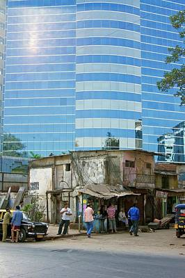 Poor People Photograph - Contrasting Buildings In Mumbai by Mark Williamson
