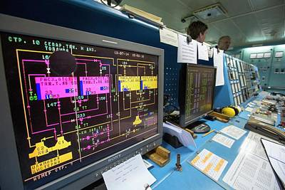 Control Room On Russian Research Vessel Art Print by Ashley Cooper