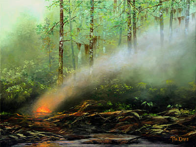Florida Swamp Painting - Controlled Burn by Tim Davis