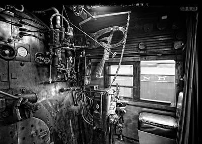 611 Photograph - Controls Of Steam Locomotive No. 611 C. 1950 by Daniel Hagerman