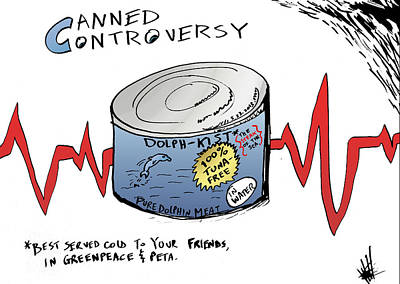 Editorial Cartoon Mixed Media - Controversy In A Can Of Dolphin Meat by OptionsClick BlogArt