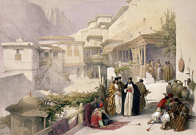 Orthodox Drawing - Convent Of St. Catherine, Mount Sinai by David Roberts