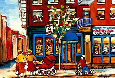 Montreal Storefronts Painting - Conversation At St Viateur Bagel Paintings Mehadrin Kosher Deli Authentic Vintage Montreal Cspandau by Carole Spandau