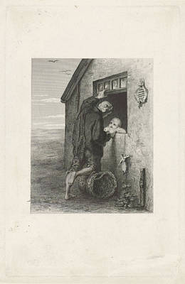 Small Basket Drawing - Conversation Between A Fisherman And A Child by Johann Heinrich Maria Hubert Rennefeld