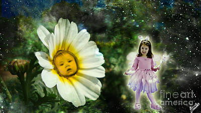 Conversation Between Fairy And Flower Baby Art Print by Artist Nandika  Dutt