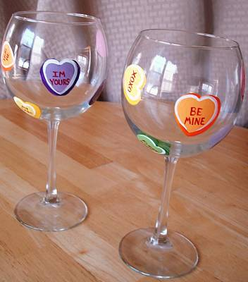 Painting - Conversation Hearts Wine Glasses by Sarah Grangier