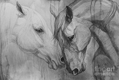 Horse Drawing Painting - Conversation I by Silvana Gabudean Dobre
