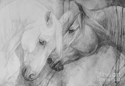 Horse Drawings Painting - Conversation II by Silvana Gabudean Dobre
