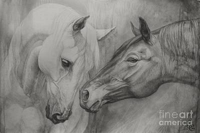 Horse Drawings Painting - Conversation Ill by Silvana Gabudean Dobre