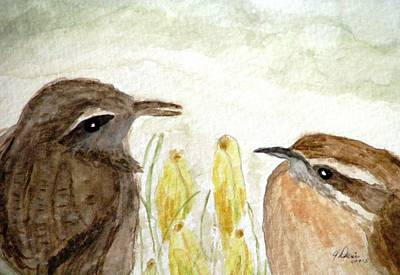 Carolina Wren Painting - Conversation In The Crocus by Angela Davies
