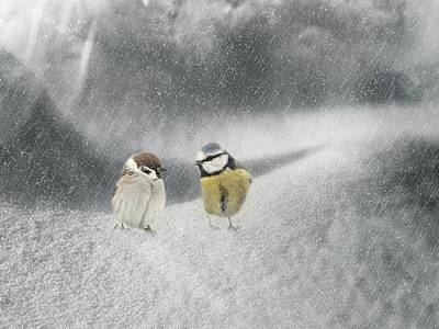Conversation In The Snow Art Print