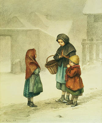 Conversation In The Snow Art Print by Pierre Edouard Frere