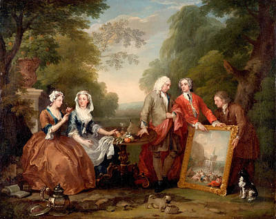 Hogarth Painting - Conversation Piece. Portrait Of Sir Andrew Fountaine With Other Men And Women by William Hogarth
