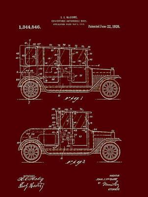 Convertible Automobile Body Patent 1920 Art Print by Mountain Dreams
