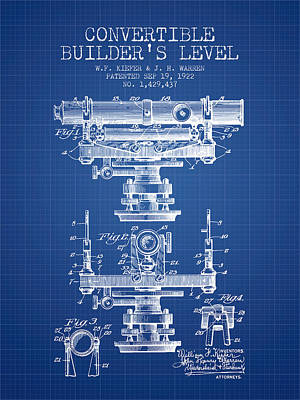 Surveying Drawing - Convertible Builders Level Patent From 1922 -  Blueprint by Aged Pixel