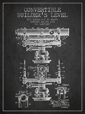 Convertible Builders Level Patent From 1922 -  Charcoal Art Print by Aged Pixel
