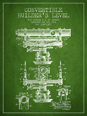 Convertible Builders Level Patent From 1922 -  Green Art Print