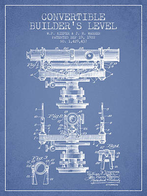 Convertible Builders Level Patent From 1922 -  Light Blue Art Print by Aged Pixel