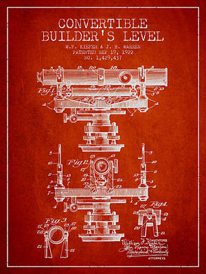 Convertible Builders Level Patent From 1922 -  Red Art Print