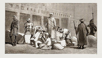 Barrack Drawing - Convicts At Work Building The Khedives Barracks by Litz Collection