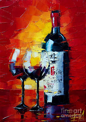 Wine Bottle Painting - Conviviality by Mona Edulesco
