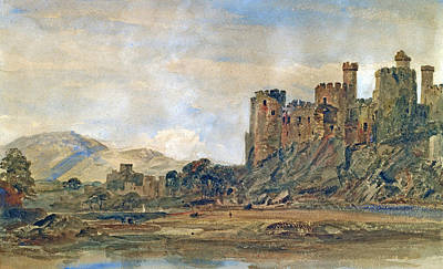 North Wales Painting - Conway Castle by Peter de Wint