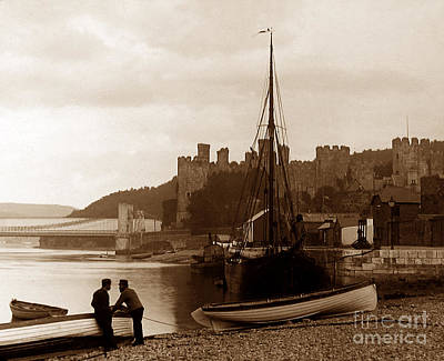 Vintage Conway Photograph - Conway Castle Wales by The Keasbury-Gordon Photograph Archive