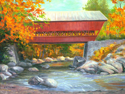 Covered Bridge Painting - Conway Covered Bridge #47, New Hampshire by Elaine Farmer