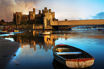Conwy Castle Photograph - Conwy Castle Reflection by Mal Bray