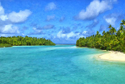 Rurutu Painting - Cook Islands Lagoon by Dominic Piperata