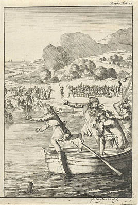 Rowboat Drawing - Cook Of Marie-catherine Daulnoy Arguing On A Rowboat by Quint Lox