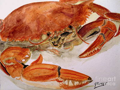 Painting - Cooked Crab Dinner by Carol Grimes