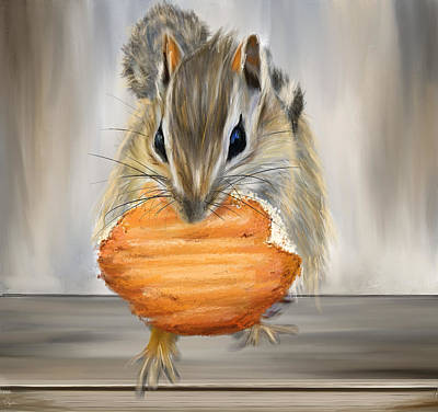 Painting - Cookie Time- Squirrel Eating A Cookie by Lourry Legarde