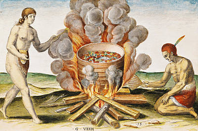 Cooking Food In A Terracotta Pot, From Admiranda Narratio... , Engraved By Gysbert Van Veen Art Print by John White