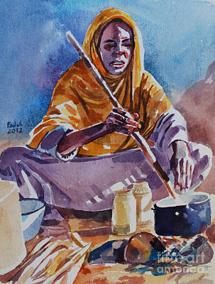 Cooking Morning Art Print by Mohamed Fadul