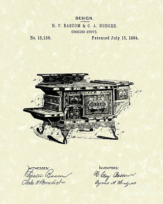 Drawing - Cooking Stove 1884 Patent Art by Prior Art Design