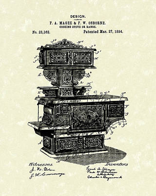 Drawing - Cooking Stove 1894 Patent Art by Prior Art Design