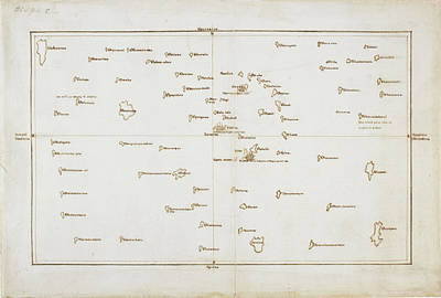 Cook's Map Of The Society Islands Art Print by British Library