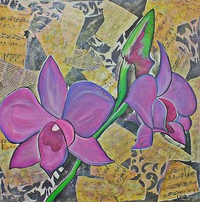 Decoupage Painting - Cooktown Orchid by Una  Miller