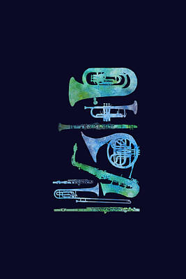Trombone Painting - Cool Blue Band by Jenny Armitage
