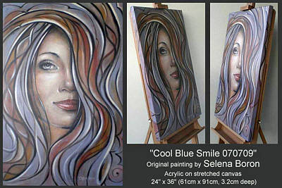 Art Print featuring the painting Cool Blue Smile 070709 Comp by Selena Boron