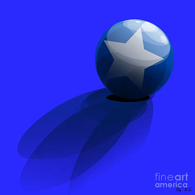 Ball Digital Art - Blue Ball Decorated With Star Grass Blue Background by R Muirhead Art