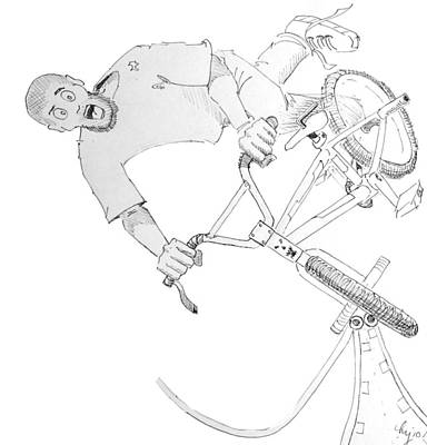 Dave Drawing - Cool Bmx Drawing by Mike Jory