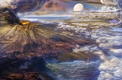 Volcano Painting - Cool Early Earth by Don Dixon