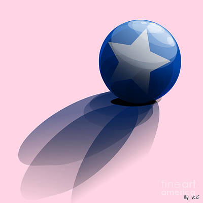Blue Ball Decorated With Star Art Print